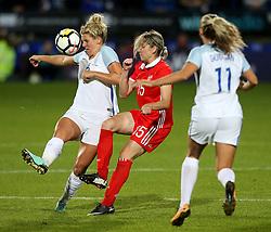 Millie Bright of England challenges Elena Danilova of Russia - Mandatory by-line: Matt McNulty/JMP - 19/09/2017 - FOOTBALL - Prenton Park - Birkenhead, United Kingdom - England v Russia - FIFA Women's World Cup Qualifier