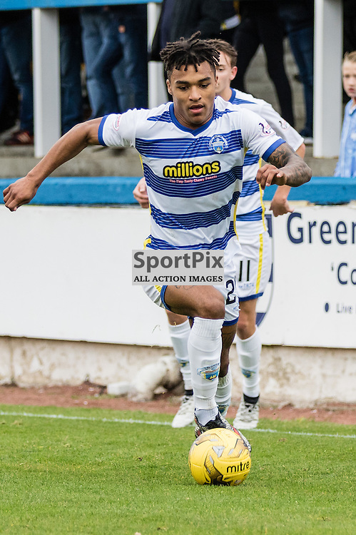 Jai Quitongo (24) of Greenock Morton controls the ball during the Scottish Championship game between Greenock Morton and Ayr United at Cappielow Park on 29th October, 2016 in Greenock, Scotland.   (c) BERNIE CLARK | SportPix.org.uk
