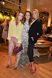 Left to right, KELLY EASTWOOD, ROSANNA FALCONER and AMBER LE BON at a party to celebrate the launch of Matthew Williamson: Fashion, Print and Colouring Book held at Anthropologie, 158 Regent Street, London on 8th September 2016.