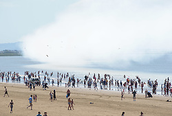 © Licensed to London News Pictures.  18/06/2017; Weston super Mare, North Somerset, UK.  Smoke from airplanes at the Weston super Mare beach and Airshow 2017 including the Red Arrows. Picture credit : Simon Chapman/LNP