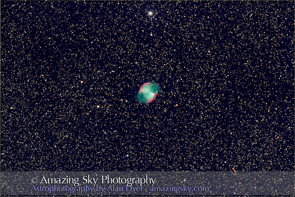 M27 the Dumbbell Nebula in Vulpecula, taken in brightening morning twilight, June 16, 2012, from home with the Astro-Physics 130mm apo refractor at f/6 with the 6x7 field flattener, for a stack of 3 x 6 minute exposures at ISO 800 with the Canon 60Da.