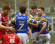 Ash Handley (C) of Leeds Rhinos scores celebrates scoring the try  with team mate Richie Myler (L) and Joel Moon (R) against Salford Red Devils during the Betfred Super League match at Emerald Headingley Stadium, Leeds<br /> Picture by Stephen Gaunt/Focus Images Ltd +447904 833202<br /> 02/04/2018