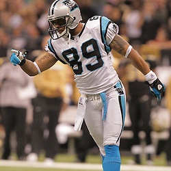 2008 December, 28: Carolina Panthers wide receiver Steve Smith (89) celebrates after making a catch during a 33-31 week 17 loss by the New Orleans Saints to NFC South divisional rivals the Carolina Panthers at the Louisiana Superdome in New Orleans, LA.