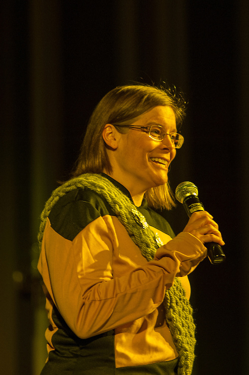 Julie Suhr, professor and director of clinical training in the department of Psychology, speaks about her love of Star Trek during the talent portion of the Ava Nichols Faculty Pageant in Baker Ballroom on Wednesday, February 25.