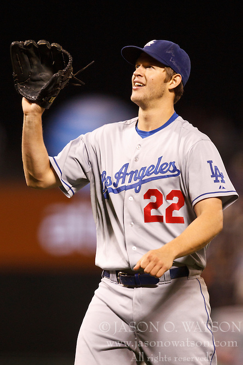 September 14, 2010; San Francisco, CA, USA;  Los Angeles Dodgers starting pitcher Clayton Kershaw (22) celebrates after the game against the San Francisco Giants at AT&T Park. Los Angeles defeated San Francisco 1-0.