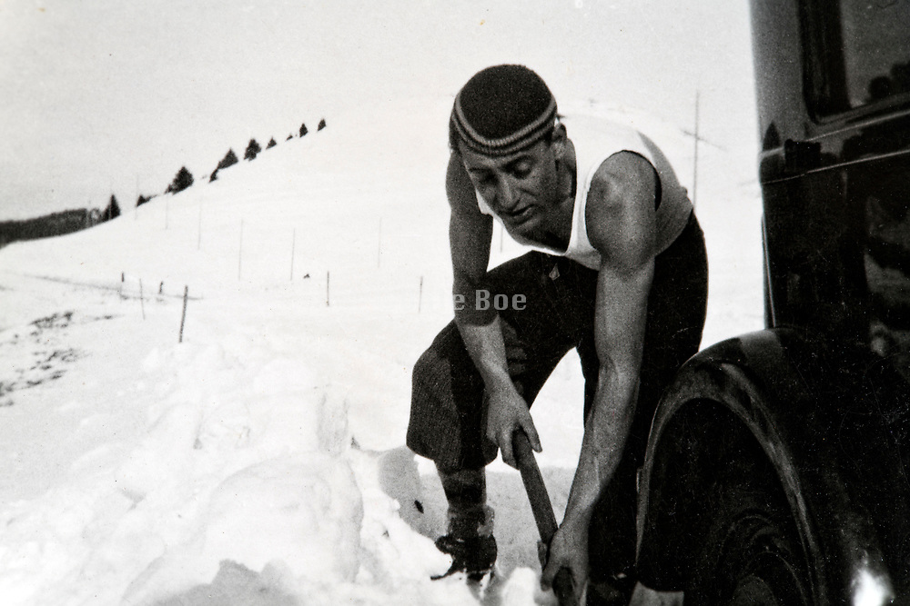 with car stuck in the snow  France Alps 1933