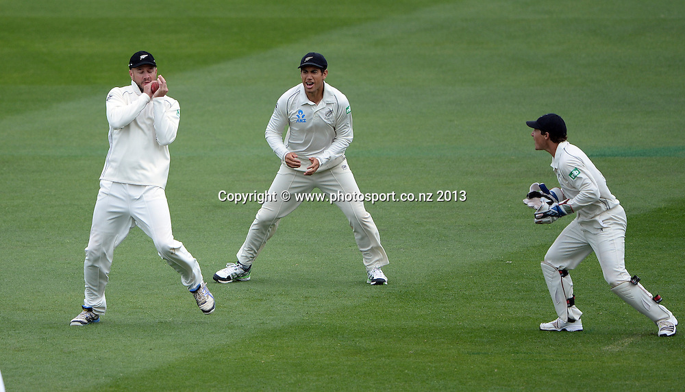 Peter Fulton takes a catch at 2nd slip to dismiss Tino Best on Day 3 of the 2nd cricket test match of the ANZ Test Series. New Zealand Black Caps v West Indies at The Basin Reserve in Wellington. Friday 13 December 2013. Mandatory Photo Credit: Andrew Cornaga www.Photosport.co.nz