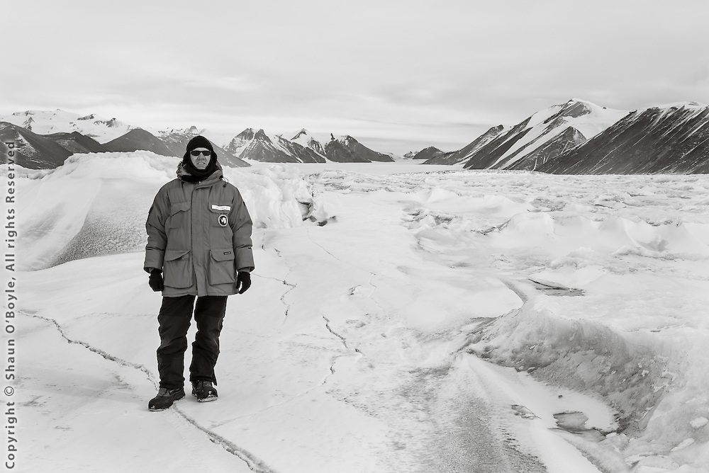 Yours truly (Shaun O'Boyle) on the sea ice on route toward the Ferrar Glacier. Yes, we drove over that surface on snow mobiles, somehow weaving a path through.