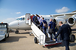 CARDIFF, WALES - Sunday, September 7, 2014: Wales players and staff board the plane at Cardiff Airport as the squad flies to Andorra ahead of the opening UEFA Euro 2016 qualifying match. (Pic by David Rawcliffe/Propaganda)