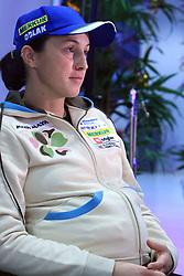 Pregnant Dijana Ravnikar (Grudicek) at press conference of Slovenian Biathlon National Team before new season 2008/2009, on November 24, 2008 in Emporium, BTC, Ljubljana, Slovenia.  (Photo by Vid Ponikvar / Sportida)