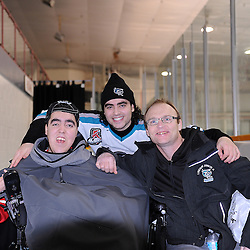 LINDSAY, ON - Feb 21 : Ontario Junior Hockey League Game Action between the Lindsay Muskies and the Pickering Panthers, Joseph Vocino #26 of the Lindsay Muskies Hockey Club with his brother Matt and Gary Norris.<br /> (Photo by Andy Corneau / OJHL Images)