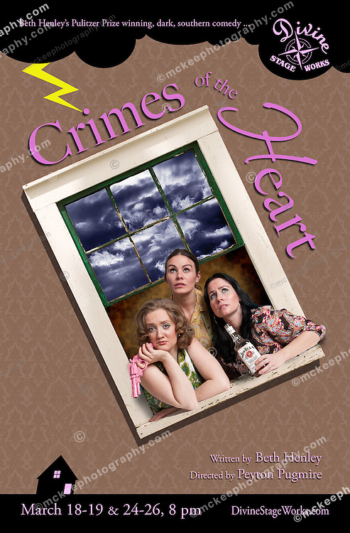 Divine Stage Works, a Boston theater company, put on Beth Henley's Pulitzer Prize winning dark, southern comedy, Crimes of The Heart. The poster shoot and photo illustration features Amanda Kelly, Brooke Casanova, and Cheryl Bellows.