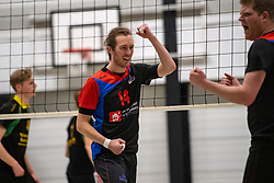 13-04-2019 NED: Prima Donna Kaas Huizen - Spaarnestad , Huizen<br /> Huizen win the match 3-2 and is the champion of the second division C / Christiaan Wilkes #13 of Spaarnestad