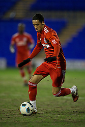 BIRKHENHEAD, ENGLAND - Monday, February 28, 2011: Liverpool's Thomas Ince in action against Blackburn Rovers during the FA Premiership Reserves League (Northern Division) match at Prenton Park. (Photo by David Rawcliffe/Propaganda)