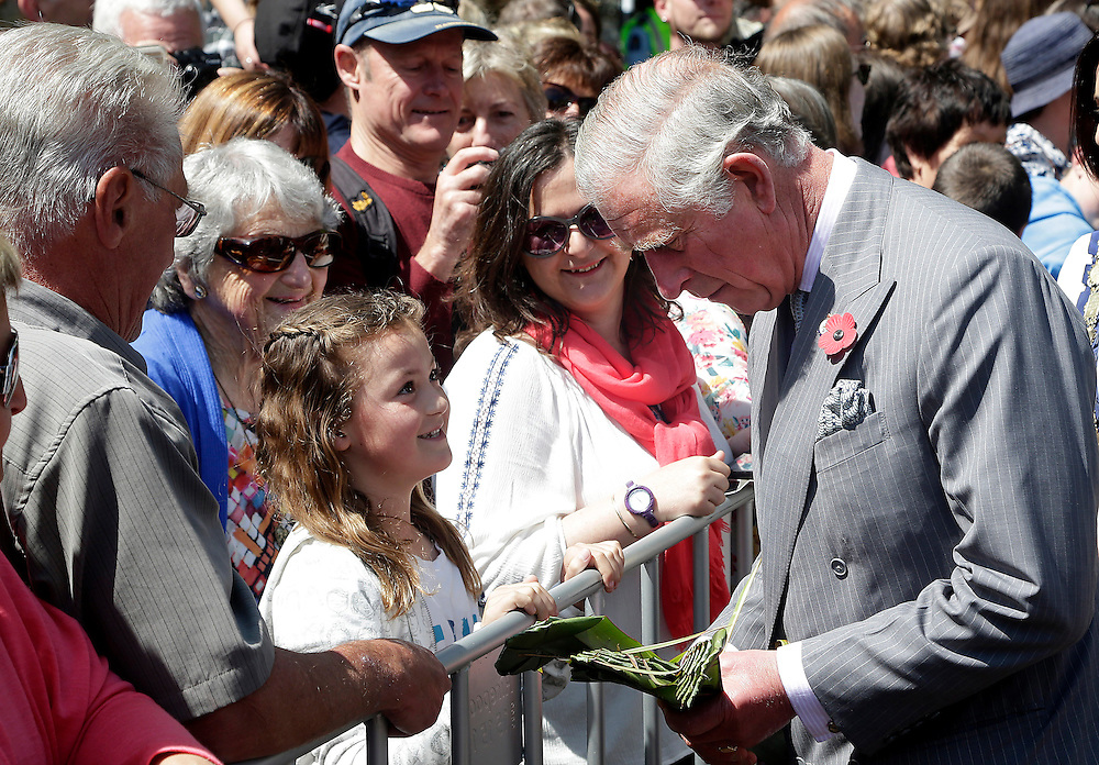 Prince Charles, Prince of Wales during his public walkabout, Nelson, New Zealand, Saturday, November 07, 2015. SNPA / Reuters, Anthony Phelps **POOL**