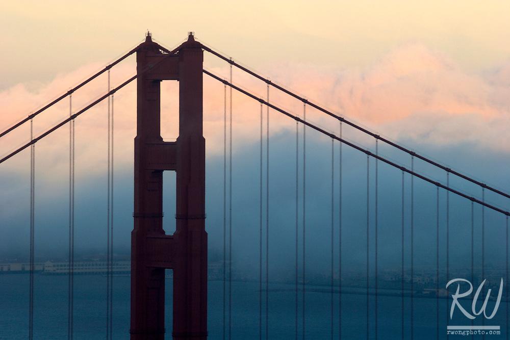 Golden Gate Bridge Sunset Fog, Marin Headlands, California