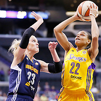 03 August 2014: Los Angeles Sparks guard/forward Armintie Herrington (22) takes a jump shot over Connecticut Sun guard/forward Katie Douglas (23) during the Los Angeles Sparks 70-69 victory over the Connecticut Sun, at the Staples Center, Los Angeles, California, USA.