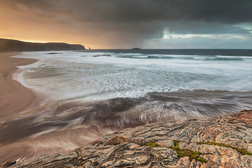 Sandwood Bay in stormy winter light, Sutherland, Scotland.