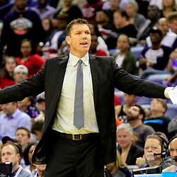 Nov 12, 2016; New Orleans, LA, USA;  Los Angeles Lakers head coach Luke Walton reacts to a officials call for traveling during the second quarter of a game against the New Orleans Pelicans at the Smoothie King Center. Mandatory Credit: Derick E. Hingle-USA TODAY Sports