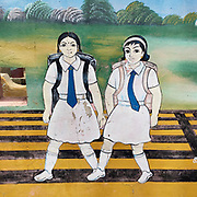 Painted school walls, East Coast.<br />