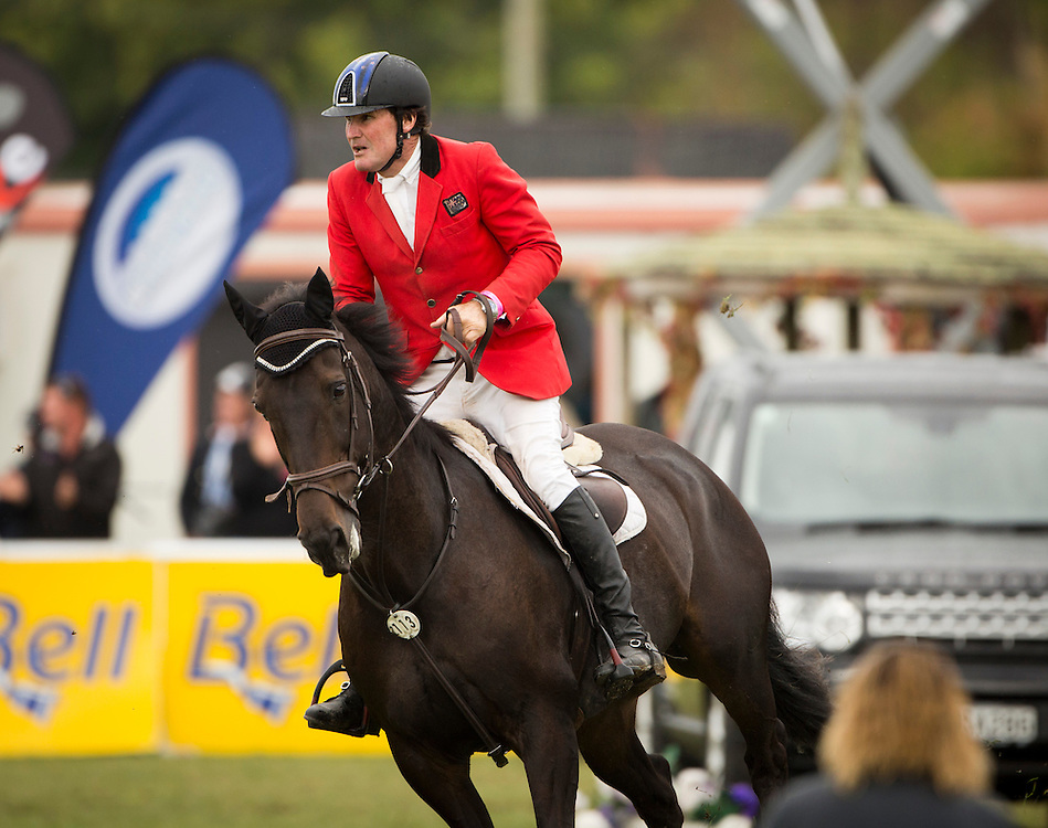 Maurice Beatson riding My Golly Wog to victory in the JB Olympic Cup at Horse of the Year, Hastings, New Zealand, Sunday, March 17, 2013. Credit:SNPA / John Cowpland