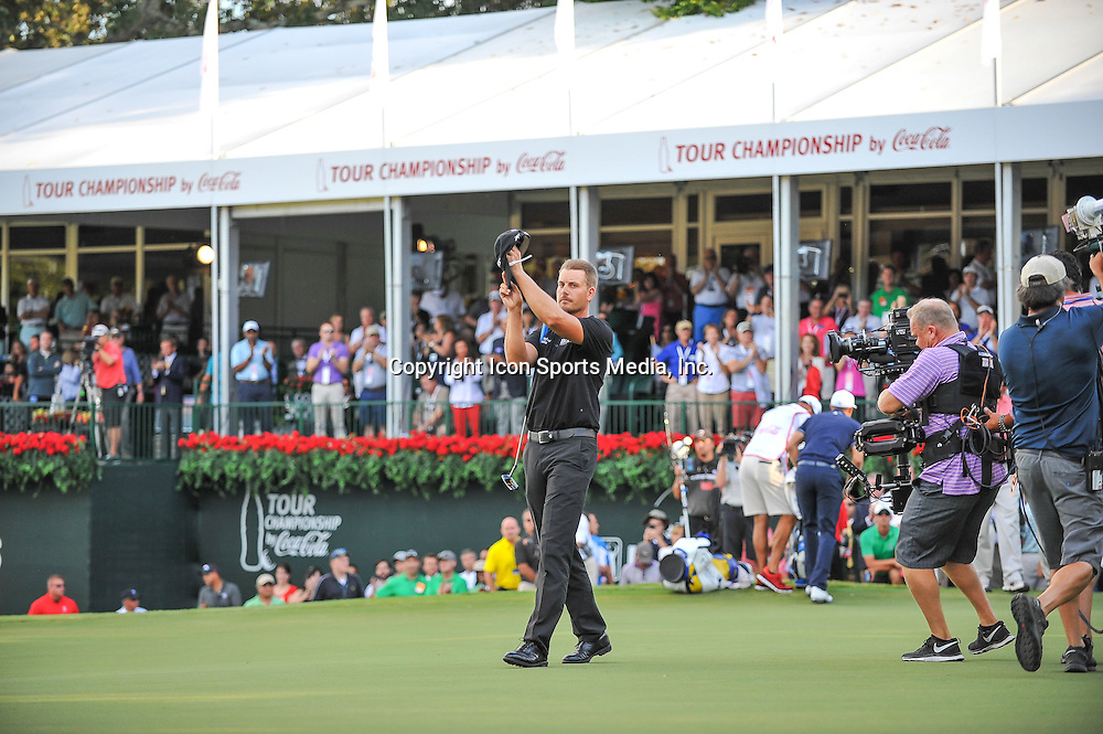 22 September, 2013:  Henrik Stenson congratulates the crowd after winning the FedEx Cup - The Tour Championship at East Lake Golf Club in Atlanta, Georgia.