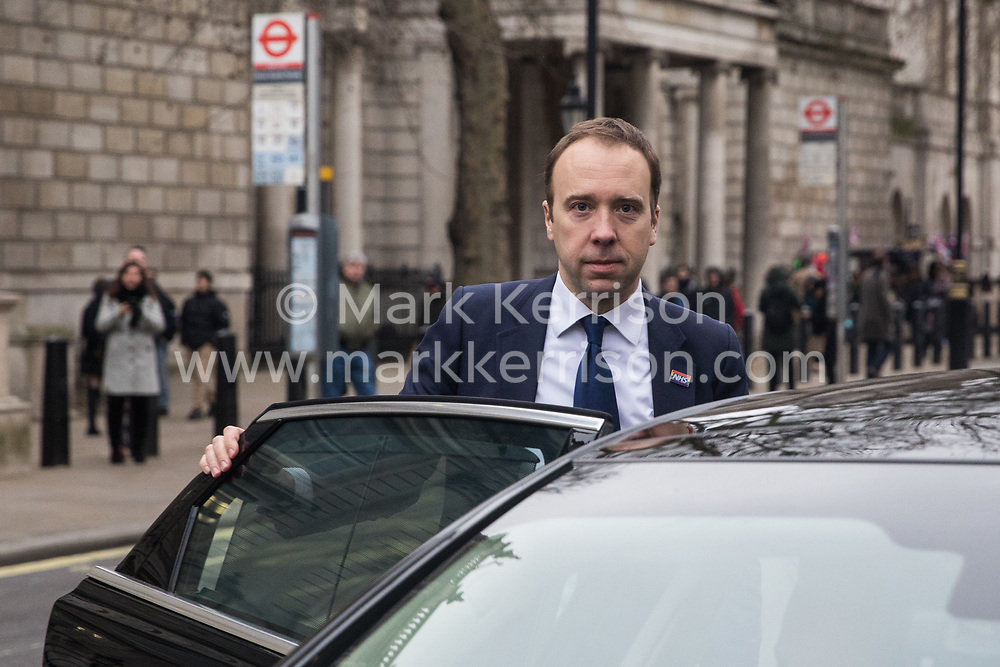 London, UK. 24 January, 2020. Matt Hancock, Secretary of State for Health and Social Care, leaves the Cabinet Office after attending a meeting of the Cobra Emergency Committee to discuss the coronavirus outbreak. Ministers from the Home Office, Foreign Office, Department for Transport, Department for Education and Ministry for Housing, Communities and Local Government also attended.
