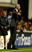 Photo: Henry Browne.<br /> Arsenal v FC Thun. UEFA Champions League.<br /> 14/09/2005.<br /> Arsene Wenger gets wound up during the match.