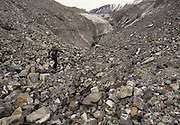 Woman, Man, Hiking, Walking, Glacier Moraine, Moraine, Glacier, Ice, Pond, River, Stream, Creek, Seward, Alaska