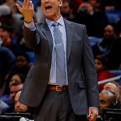 Jan 12, 2018; New Orleans, LA, USA; Portland Trail Blazers head coach Terry Stotts against the New Orleans Pelicans during the second half at the Smoothie King Center. The Pelicans defeated the Trail Blazers 119-113. Mandatory Credit: Derick E. Hingle-USA TODAY Sports