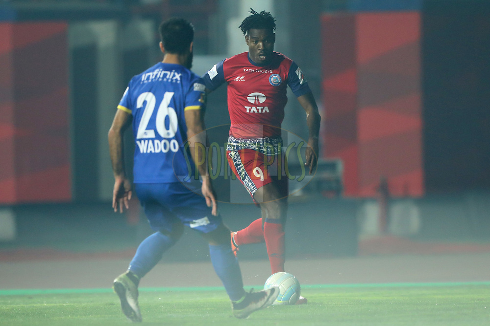Kervens Belfort of Jamshedpur FC during match 39 of the Hero Indian Super League between Jamshedpur FC and Mumbai City FC  held at the JRD Tata Sports Complex, Jamshedpur, India on the 5th January 2018<br /> <br /> Photo by: Arjun Singh  / ISL / SPORTZPICS