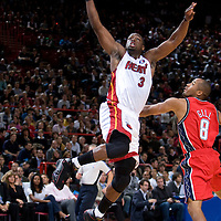 9 October 2008: Dwyane Wade of the Miami Heat goes for the dunk during the New Jersey Nets 100-98 overtime victory over the Miami Heat in an exhibition game at Bercy Arena, in Paris, France.