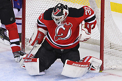 Feb 2; Newark, NJ, USA; New Jersey Devils goalie Martin Brodeur (30) makes a save during the first period of their game against the Montreal Canadiens at the Prudential Center.