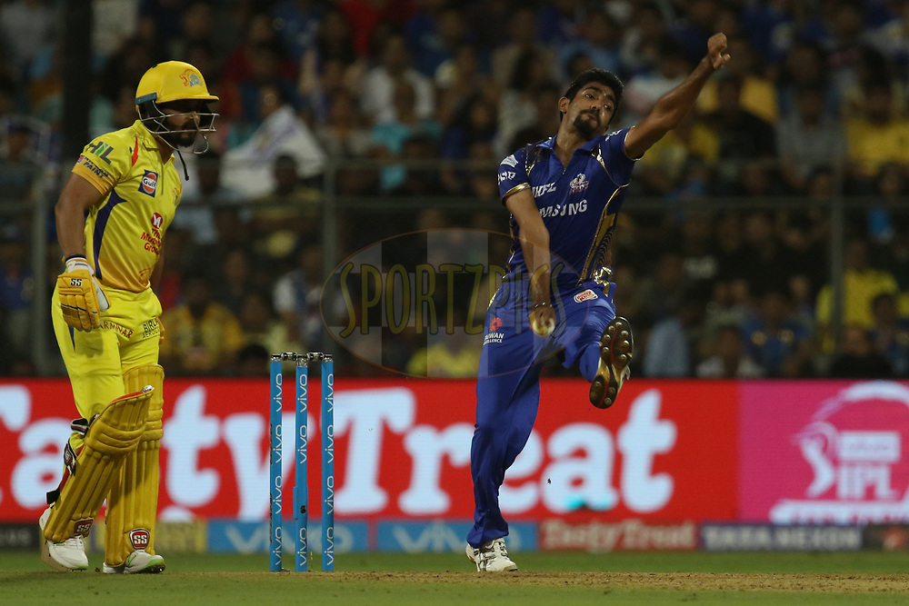 Jasprit Bumrah of the Mumbai Indians bowls during match one of the Vivo Indian Premier League 2018 (IPL 2018) between the Mumbai Indians and the Chennai Super Kings held at the Wankhede Stadium in Mumbai on the 7th April 2018.<br /> <br /> Photo by Faheem Hussain / IPL / SPORTZPICS