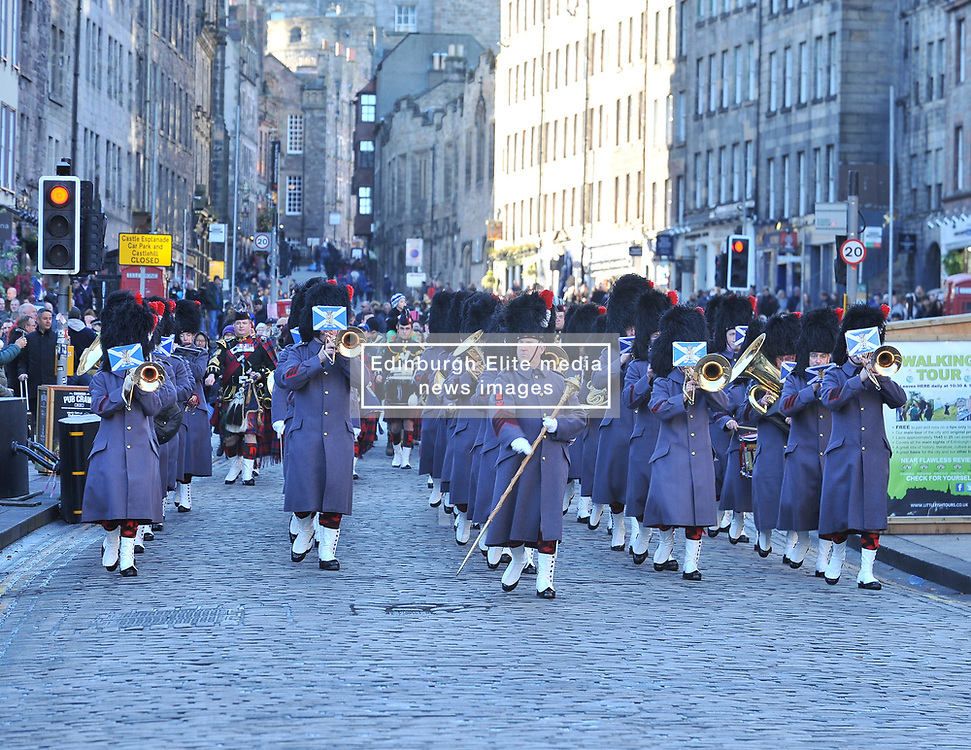 The band of the Royal Regiment of Scotland march down the High Street to welcome the Princess Royal arrives for a memorial service to pioneering WW1 medic Elsie Inglis in Edinburgh and meets descendants of the Scottish doctor.<br /> <br /> © Dave Johnston/ EEm