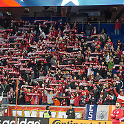 Mar 19, 2016; Harrison, NJ, USA; Fans react in the first half at Red Bull Arena. Red Bulls defeat the Dynamo 4-3. Mandatory Credit: William Hauser-USA TODAY Sports