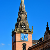 Tron Theatre Clock Tower in Glasgow, Scotland <br />