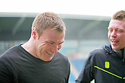 Mansfield Town manager David Flitcroft looking relaxed  and sharing a joke before the EFL Sky Bet League 2 match between Chesterfield and Mansfield Town at the Proact stadium, Chesterfield, England on 14 April 2018. Picture by Nigel Cole.