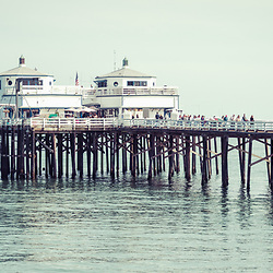 Manibu Pier California coastal panorama photo. Malibu is a beach city in Southern California in the United States of America. Copyright ⓒ 2015 Paul Velgos with All Rights Reserved.