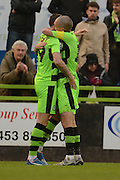 Forest Green Rovers striker Rhys Murphy (39) and Forest Green Rovers midfielder Liam Noble (15) celebrates goal 1-0 during the Vanarama National League match between Forest Green Rovers and Dagenham and Redbridge at the New Lawn, Forest Green, United Kingdom on 29 October 2016. Photo by Alan Franklin.