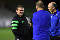 Harlequins Assistant Coach Toby Booth speaks with Bath Rugby Assistant Coaches Neal Hatley and Girvan Dempsey prior to the match - Mandatory byline: Patrick Khachfe/JMP - 07966 386802 - 23/11/2019 - RUGBY UNION - The Twickenham Stoop - London, England - Harlequins v Bath Rugby - Heineken Champions Cup