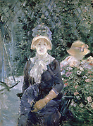 In the Garden' 1883. Oil on canvas. Berthe Morisot (1841-1895) French painter, sister-in-law of Edouard Manet. Portrait woman in blue dress with white fichu, straw hat with blue trimming and holding fan, seated in summer garden.