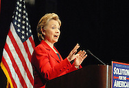 PHILADELPHIA -  MARCH  24:  Democratic Presidential candidate Sen. Hillary Clinton (D-NY) makes ramarks during a major economic speech at the University of Pennsylvania March 24, 2008 in Philadelphia, Pennsylvania. (Photo by William Thomas Cain/Getty Images)