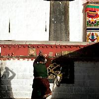 A Pilgrim pray in the Jokhang temple, downtown Lasa, during the celebration of Tibetan New Year, in Lasa. Tibet, China/Feb. 22, 2007.