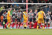 A goalmouth scramble during the EFL Sky Bet League 2 match between Grimsby Town FC and Port Vale at Blundell Park, Grimsby, United Kingdom on 10 March 2018. Picture by Mick Atkins.