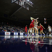 Breanna Stewart, UConn, drives to the basket past Stephanie Collins, SMU,  during the UConn Vs SMU Women's College Basketball game at Gampel Pavilion, Storrs, Conn. 24th February 2016. Photo Tim Clayton