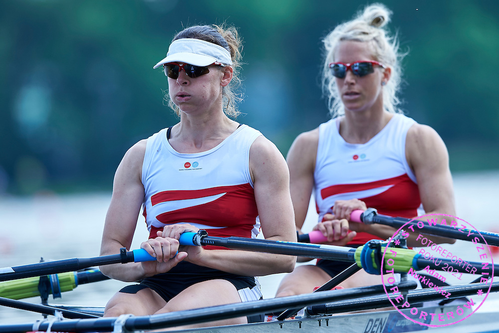 (bow) Mette Petersen and (stroke) Lisbet Jakobsen both of Denmark compete at Women&rsquo;s Double Sculls (W2x) during first day the 2015 European Rowing Championships on Malta Lake on May 29, 2015 in Poznan, Poland<br /> Poland, Poznan, May 29, 2015<br /> <br /> Picture also available in RAW (NEF) or TIFF format on special request.<br /> <br /> For editorial use only. Any commercial or promotional use requires permission.<br /> <br /> Mandatory credit:<br /> Photo by &copy; Adam Nurkiewicz / Mediasport