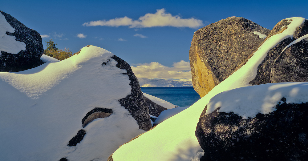 Lake Tahoe Scenic Winter Rocks