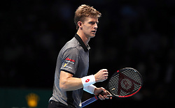 Kevin Anderson reacts during the men's singles match on day five of the Nitto ATP Finals at The O2 Arena, London.