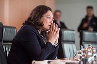24 MAY 2016, BERLIN/GERMANY:<br /> Andrea Nahles, SPD, Bundesarbeitsministerin, vor Beginn der Kabinettsitzung, Bundeskanzleramt<br /> IMAGE: 20170524-01-004<br /> KEYWORDS: Kabinett, Sitzung
